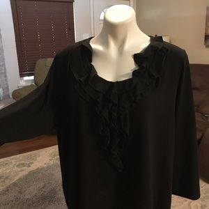 Rafaella 3x black ruffle blouse